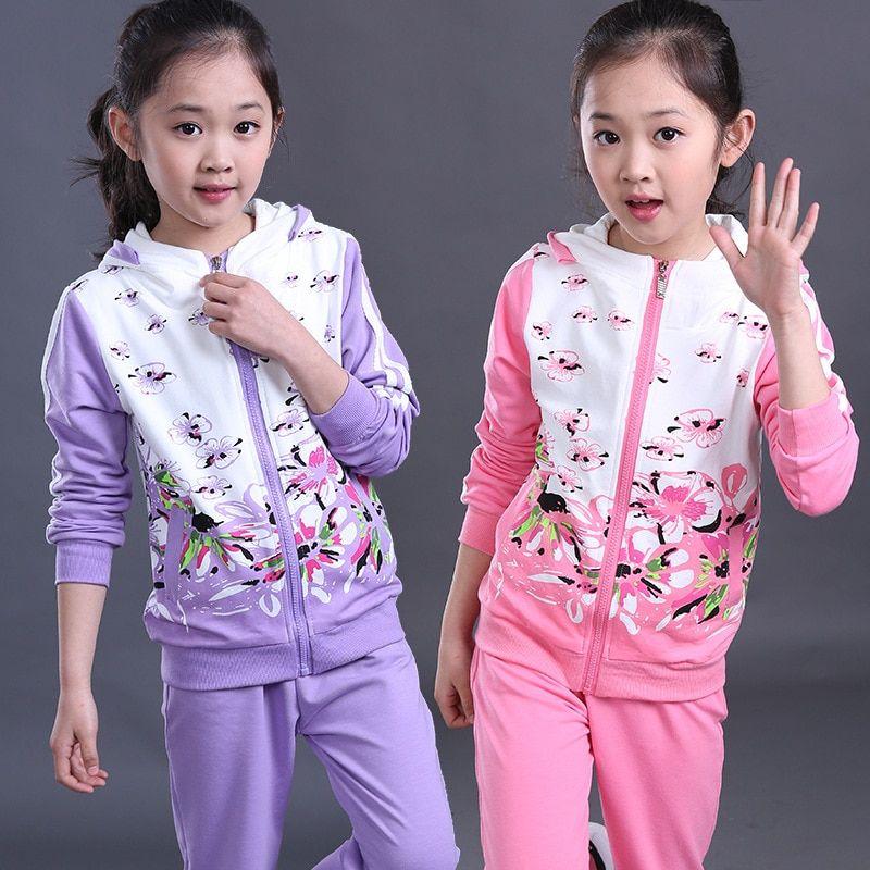 673813308 2017 Spring Baby Girls Clothes Jacket Floral Kids Hoodies+Pants Kids ...