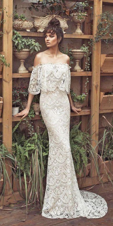 f169407a89e21 Off the Shoulder Mermaid Lace Wedding Dresses Vintage Rustic Wedding Dress