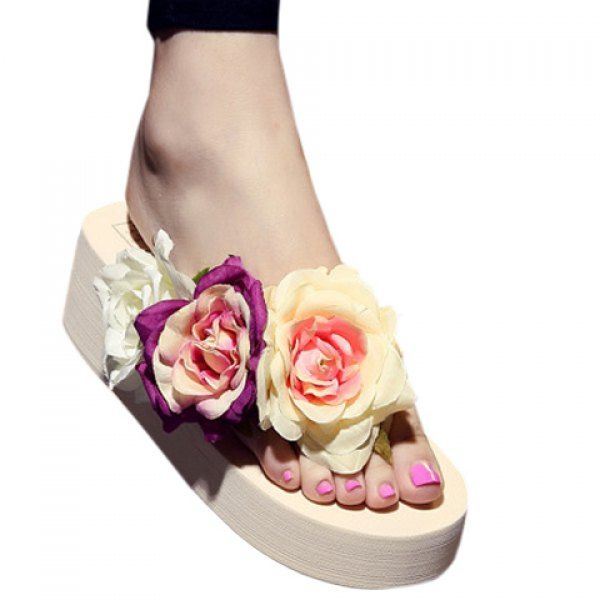 Casual Wedge Heel and Flowers Design Slippers For Women is part of Clothes Casual Wedges - Great reputation fashion retailer with large selection of womens & mens fashion clothes, swimwear, shoes, jewelry, accessories selling at a cheap price