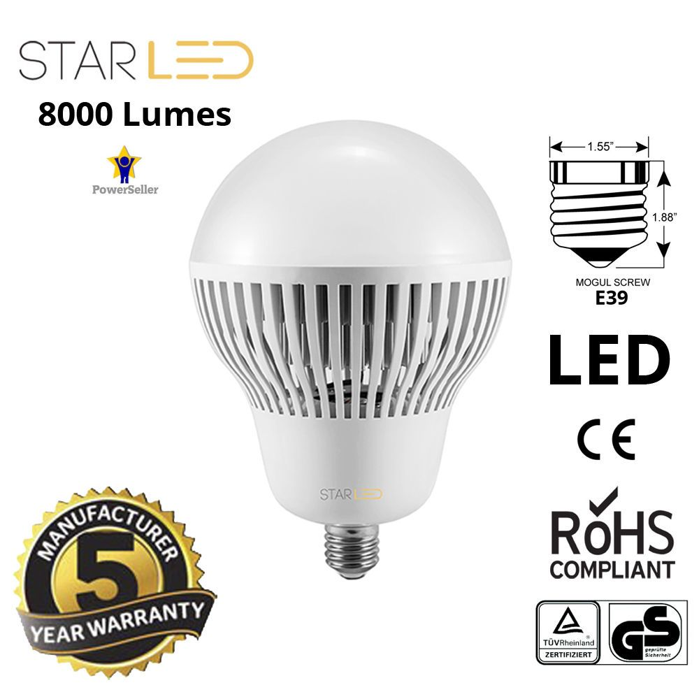 Starled 400w Equivalent High Bay Led Light Bulb Ballast Bypass E39 4w 12v Fluorescent Lamp Driver Mogul 8000lm