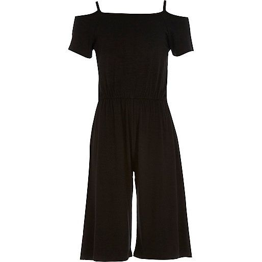 f191242916d Girls black bardot culotte jumpsuit £25  riverisland