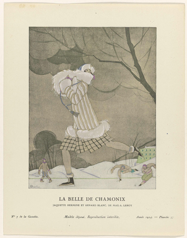 Anonymous   Gazette du Bon Ton, 1924 - No. 7 : La Belle de chamonix / Jaquette hermine et renard blanc, de Max-A. Leroy, Anonymous, Max. A. Leroy, Lucien Vogel, 1924   Schaatsende vrouw gekleed in een mantel van hermelijn en wit vossenbont, van Max A. Leroy. Hieronder draagt zij een geruite rok (?). Op het hoofd een muts met bont. De handen in een mof van bont. Aan de voeten schaatsen. Op de achtergrond drie schaatsers. Planche 37 uit Gazette du Bon Ton 1924, No. 7.