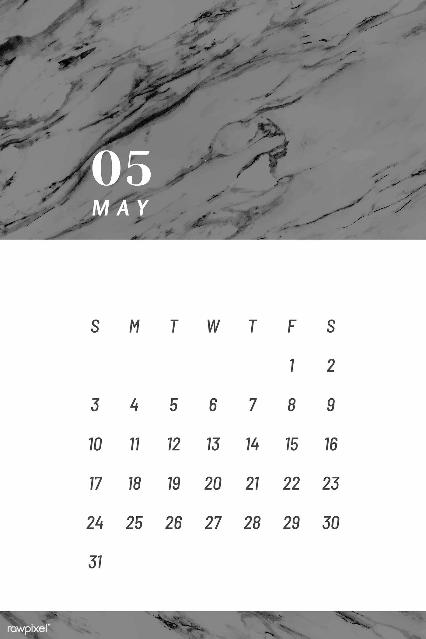 Download Premium Vector Of Black And White May Calendar 2020
