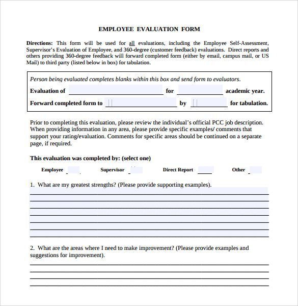 Download Employee Evaluation Form forms Pinterest - employee proposal letter