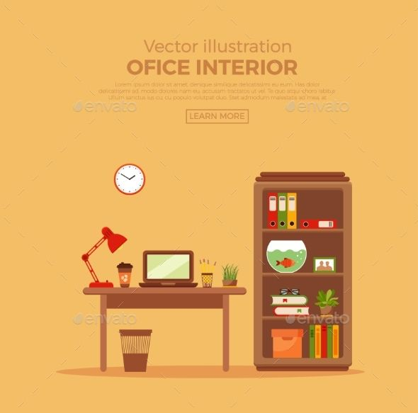 Vector Colorful Office Desk With Indoor Plants Work Interior