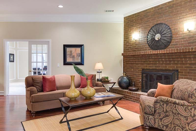 Plano home staging living room staging, fireplace at an ...