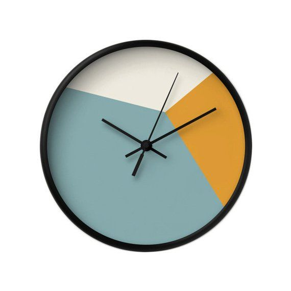 Teal Wall Clock Geometric Wall Clock Housewarming Gift Geometric Clock Teal And Orange Wall Clock Mi Orange Wall Clocks Teal Wall Clocks Wall Clock