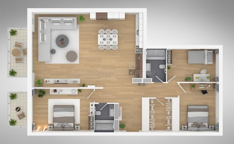 Home Floor Plan Top View 3d Illustration Open Concept Living Apartment Layout Sponsored Top View Plan Apartment Layout House Floor Plans Floor Plans