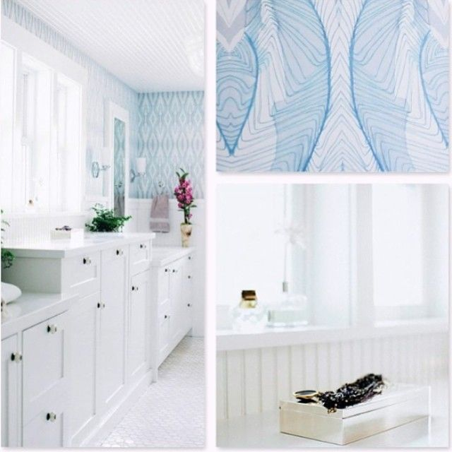 This Was Just Emailed To Is From Kimberlyrider Interiors Featuring Our Ula Wallpaper In Pool White Master Bathroom Eskayel Interior