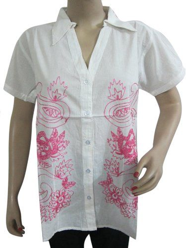 White and pink embroidered shirt. Medium Aa30plt
