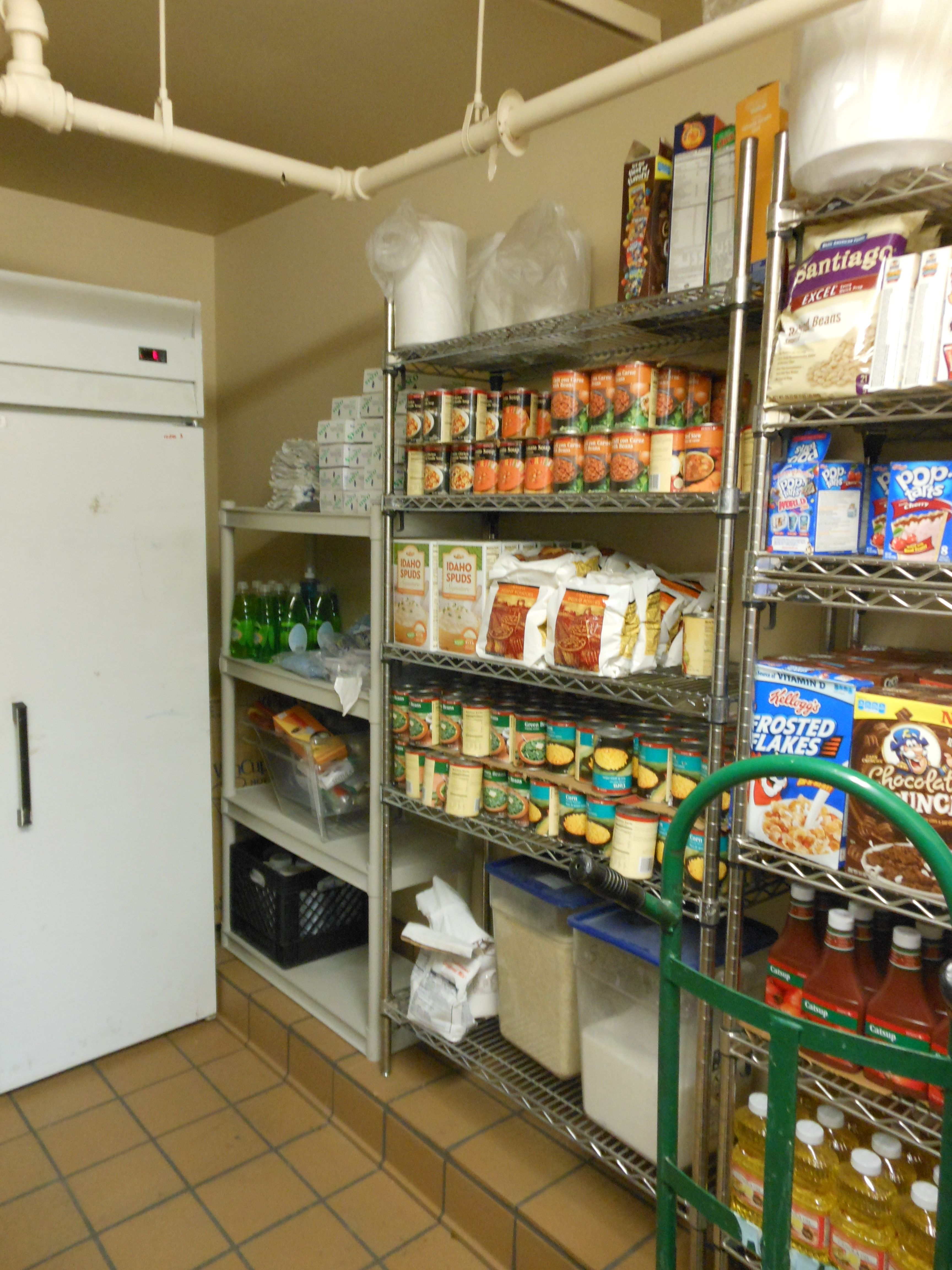 Kitchen pantry where every item of food is donated from