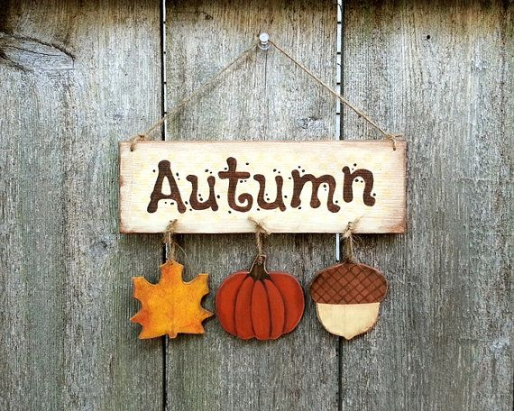 Autumn sign decoration halloween wood plaque fall rustic