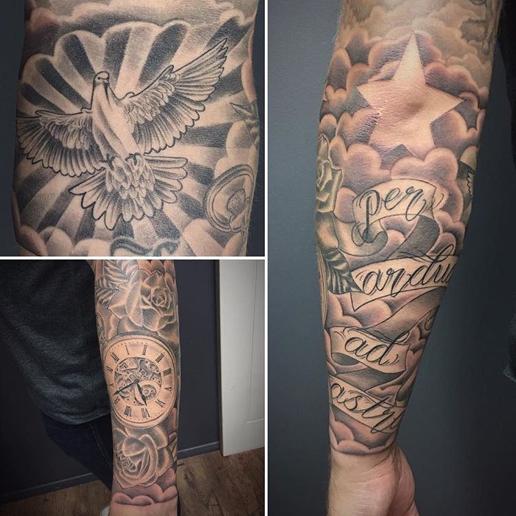 tattoo finished #forearm #sleeve added #cloud everything else healed ...