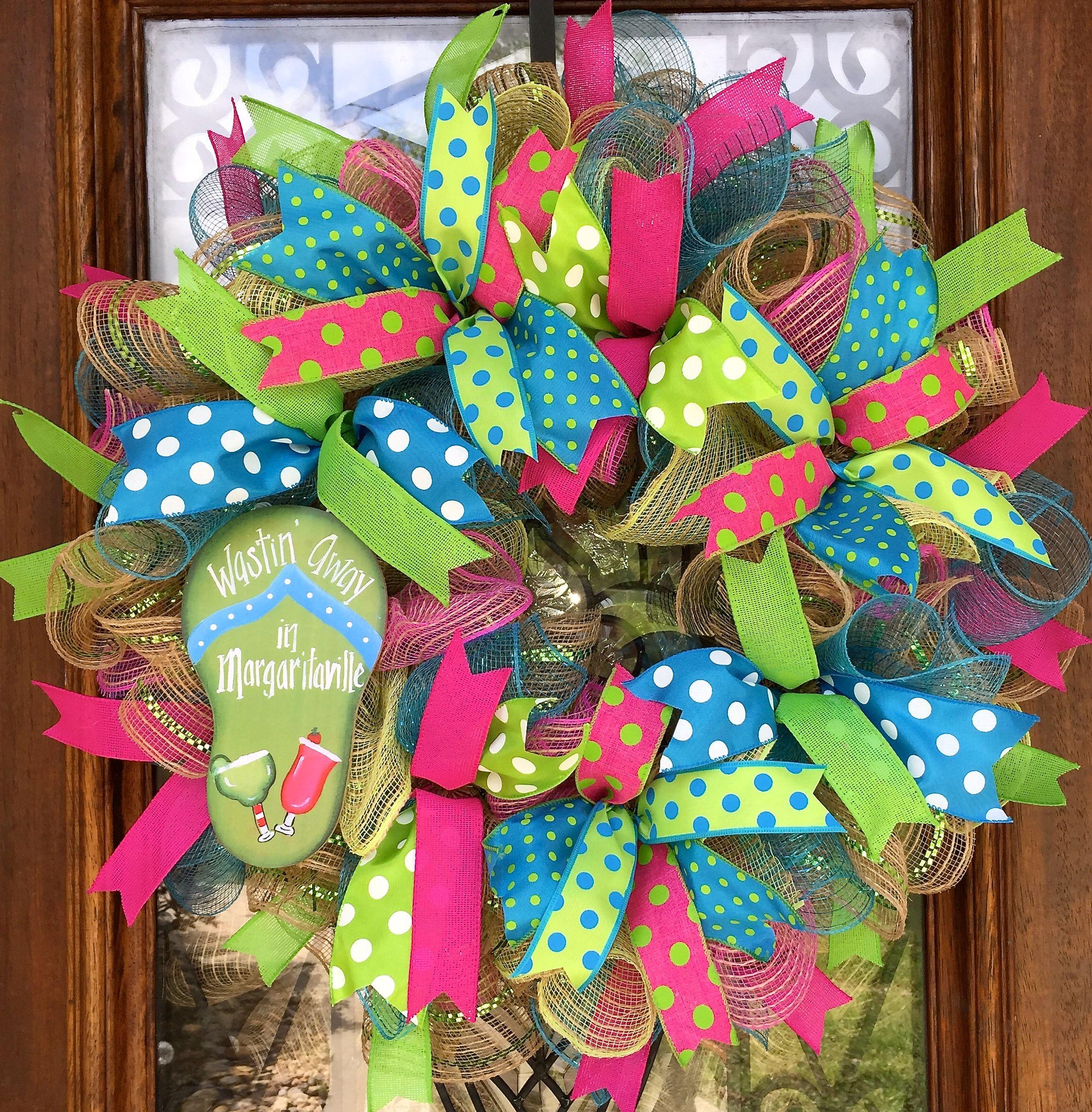 Margaritaville wreath, summer, bright colors, flip flops