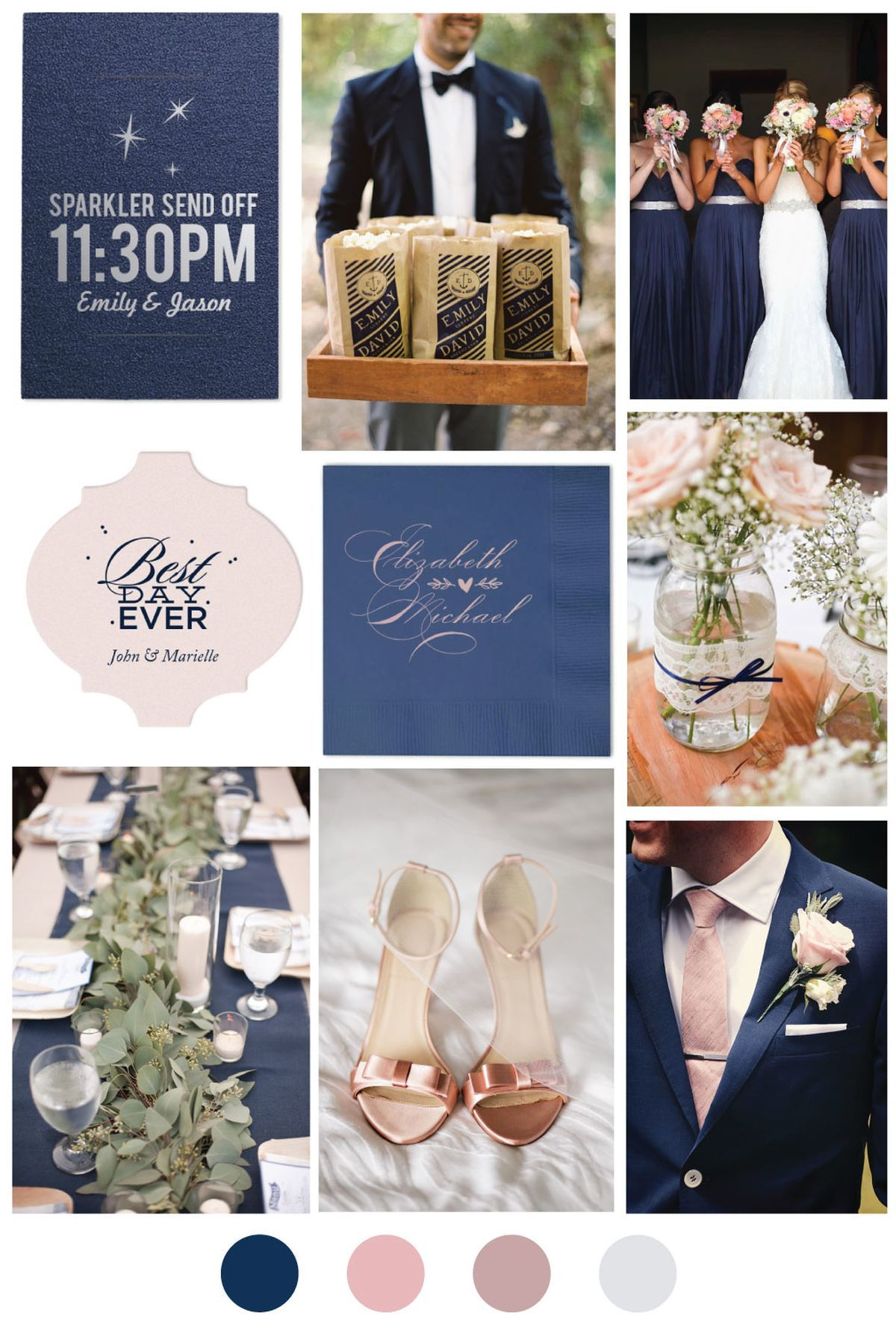 Blush And Blue Wedding Color Palette With Images Wedding Theme