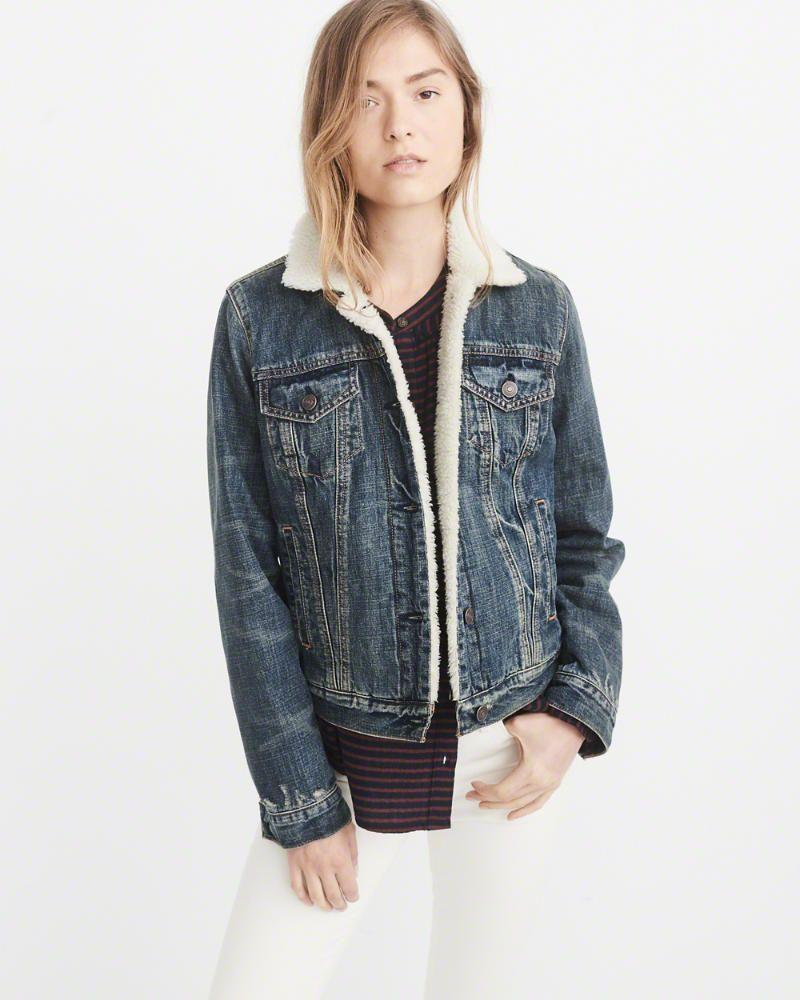 A F Women S Sherpa Denim Jacket Looks [ 1000 x 800 Pixel ]