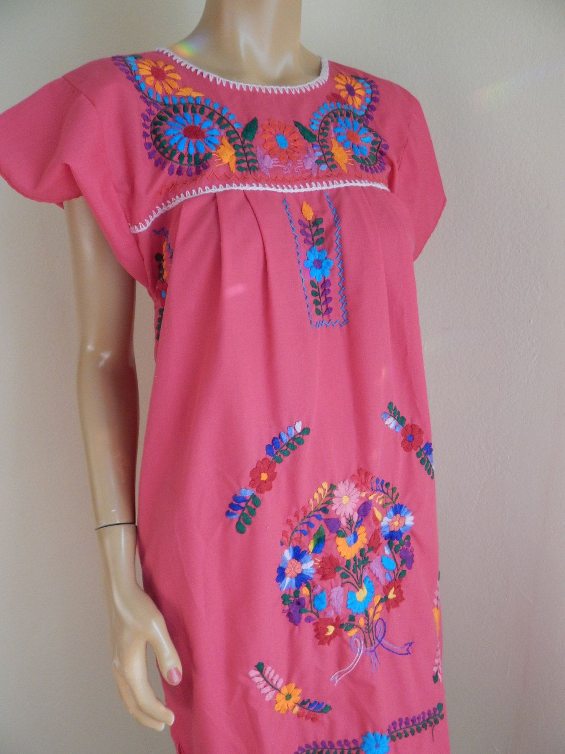 Mexican Dress Hand Embroidered Pink By Stilettoranch On Etsy