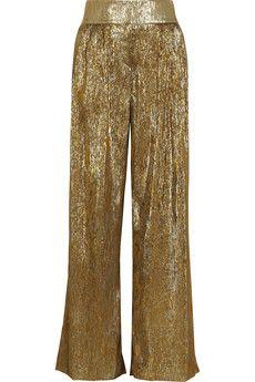 Oscar de la Renta Silk-blend lamé wide-leg pants   NET-A-PORTER OSCAR DE LA RENTA Silk-blend lamé wide-leg pants $1,290