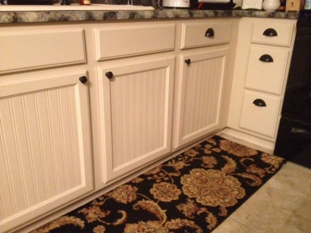 After Makeover Nice Cabinetry But I Wanted To Personalize My Kitchen In My Eclectic Style Of Sh Kitchen Cabinets Makeover Wainscoting Kitchen Cabinet Makeover Beadboard wallpaper on kitchen island