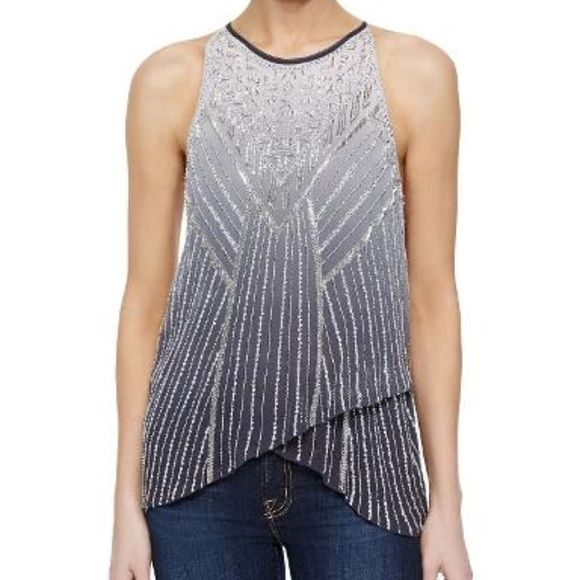 REDUCED Gorgeous Beaded Halter Top Parker beaded and sequined halter top. Clasp in the back. Parker Tops