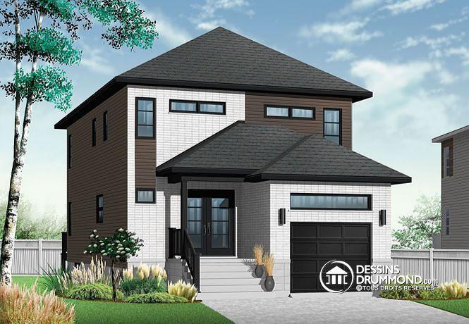 W3877-V1 - Plan maison moderne pour terrain étroit avec garage - plan de maisons modernes