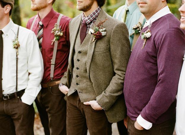 For the boys brown groomsmen hipster vintage wedding tweed suit ...
