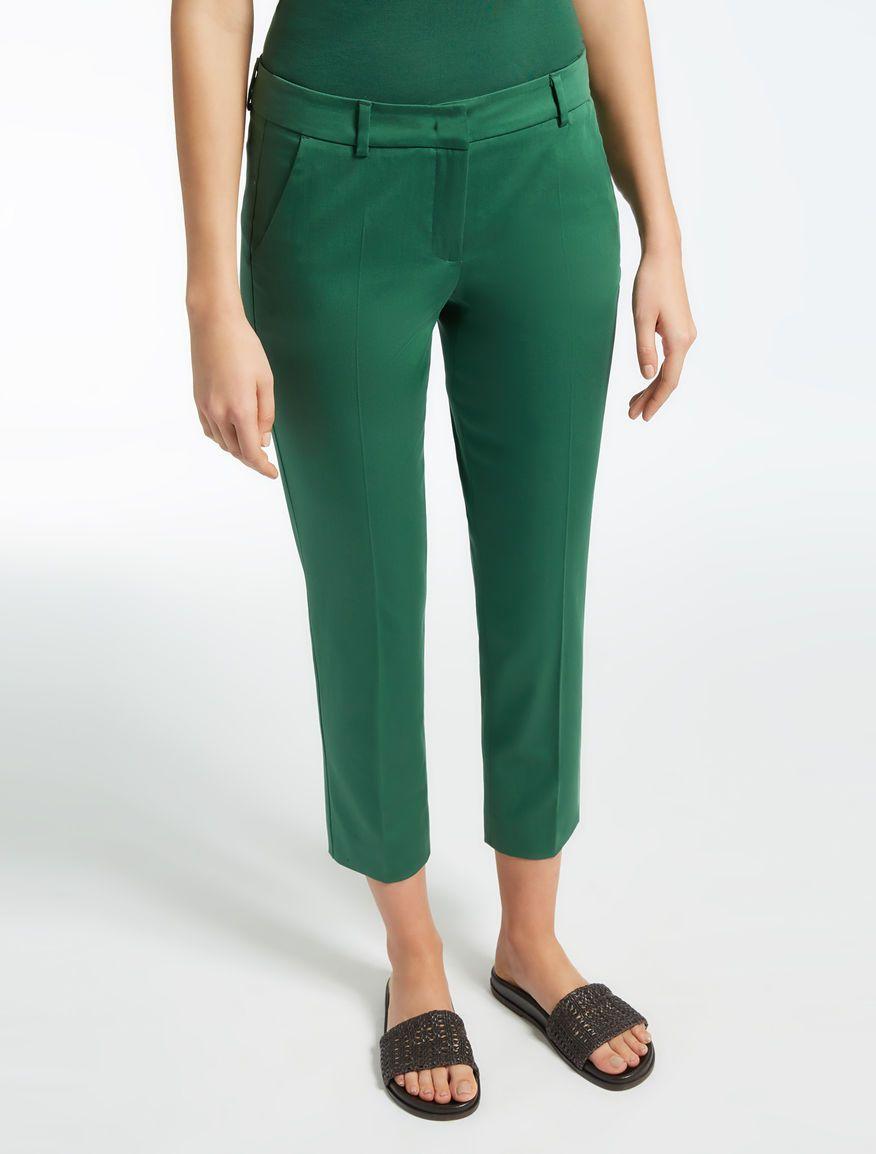 Max Mara PLATANI verde: Pantalón de satén de algodón ...