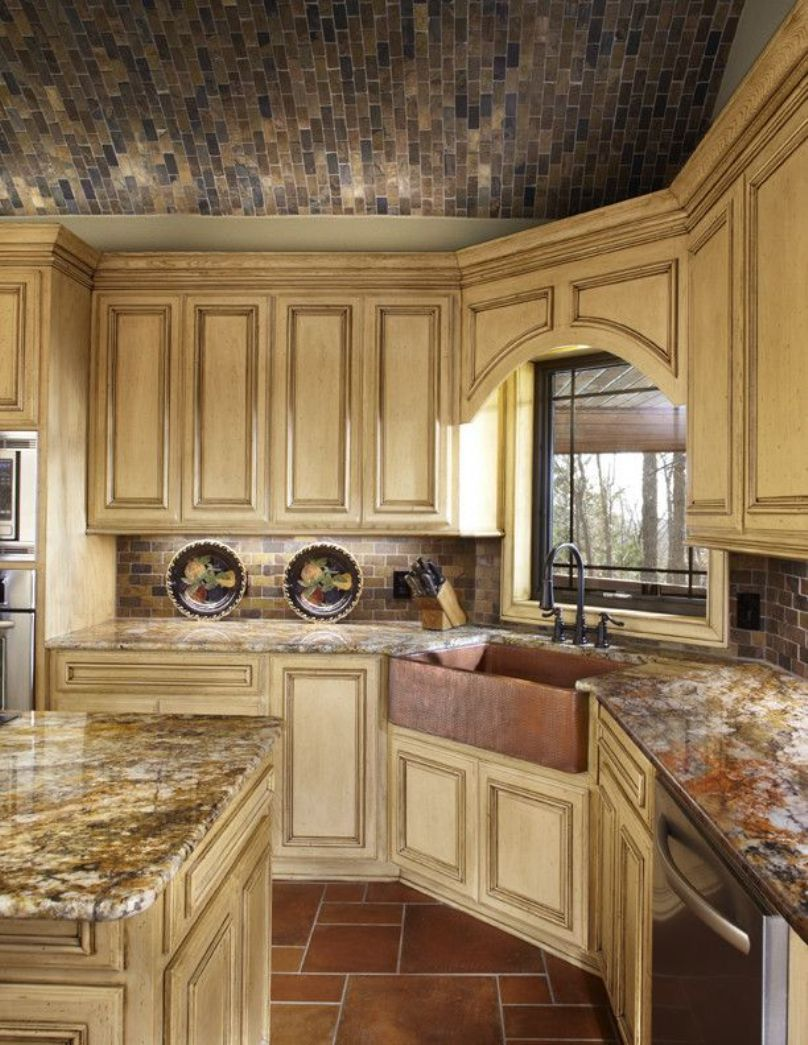 Tuscan Kitchen With Glazed Cabinets And Copper Corner Sink ...