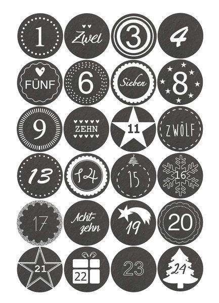 Adventskalender+Sticker+zahlen+1-24-+Schieferoptik+von+dueTori+auf+DaWanda.com #calendrierdelaventdiy