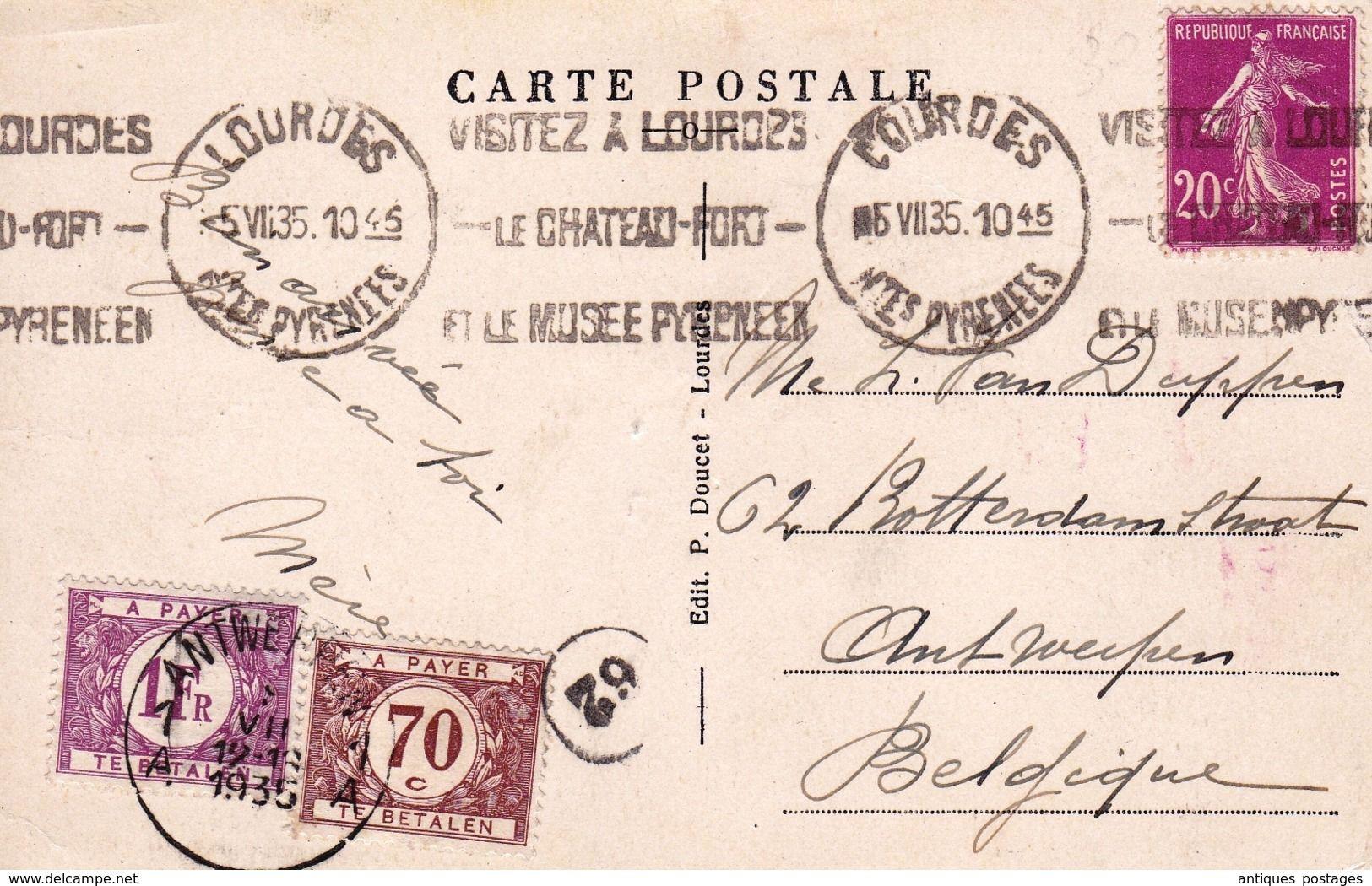 Carte Postale Lourdes Hautes Pyrenees 1935 Anvers Antwerpen