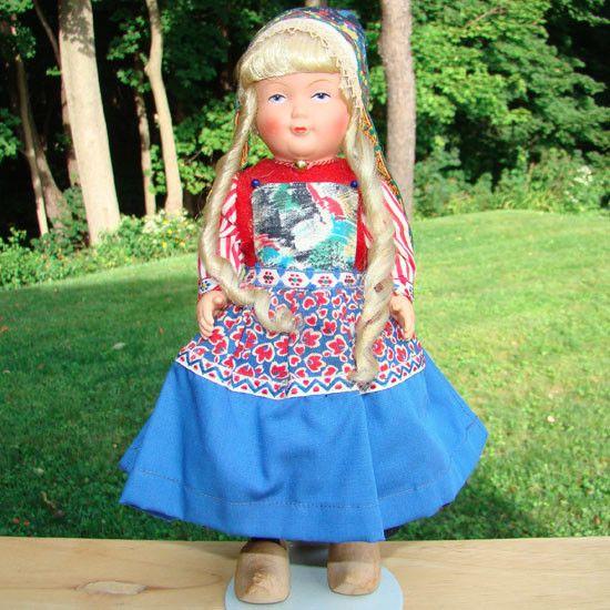 C1960s Dovina Netherlands Holland Dutch Provincial Costume Doll with Blue Apron #DovinaRotterdamHolland