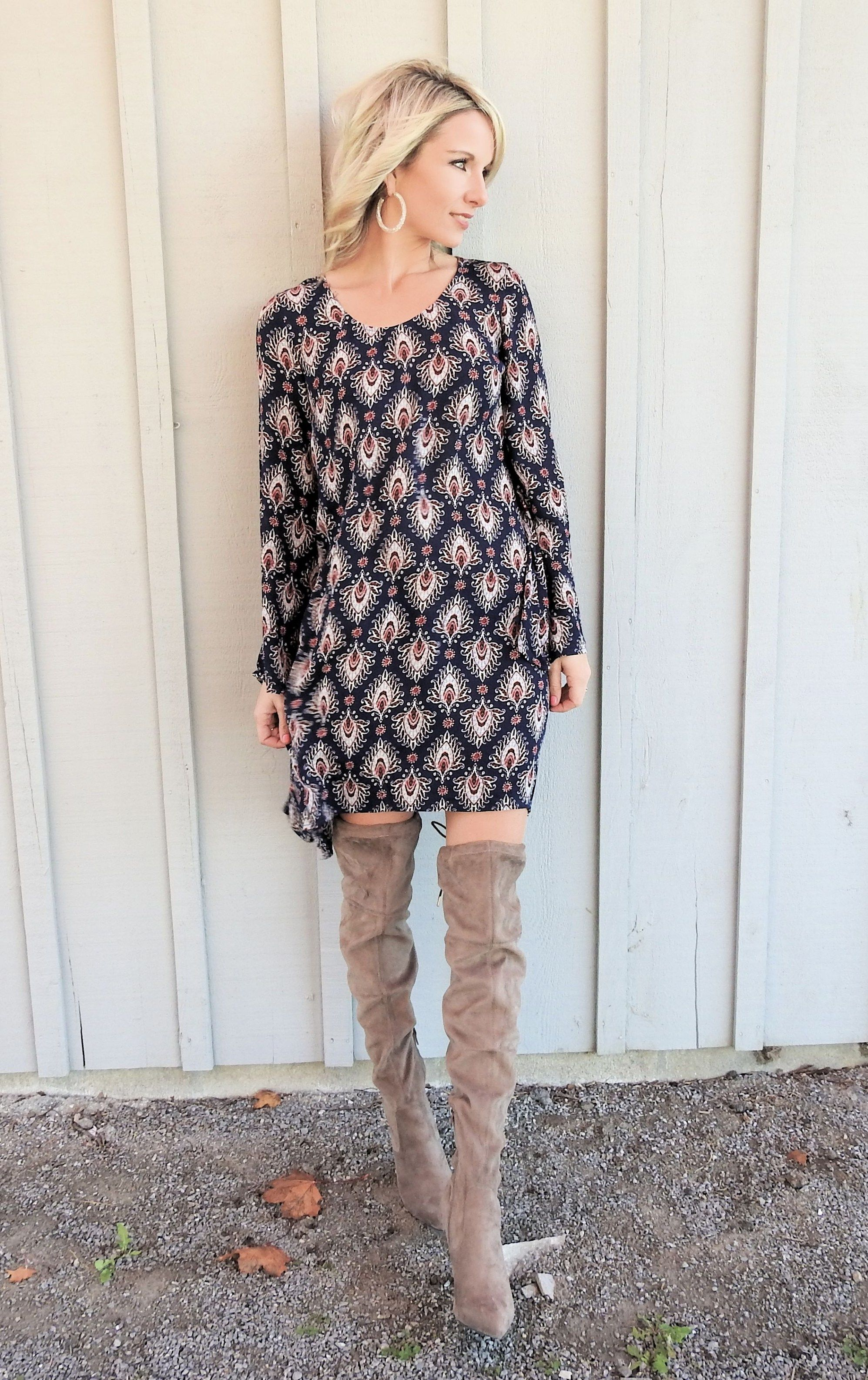Fall dress and pretty otk boots sleeved dress fashion bloggers