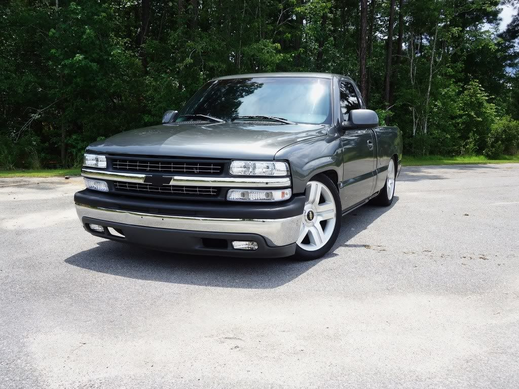 99 Rcsb Storm Grey Silverado Lowered 5 8 Drop On Brand New Ltz 20 Rims And Tires Performancetrucks Net Single Cab Trucks Silverado Truck Custom Chevy Trucks