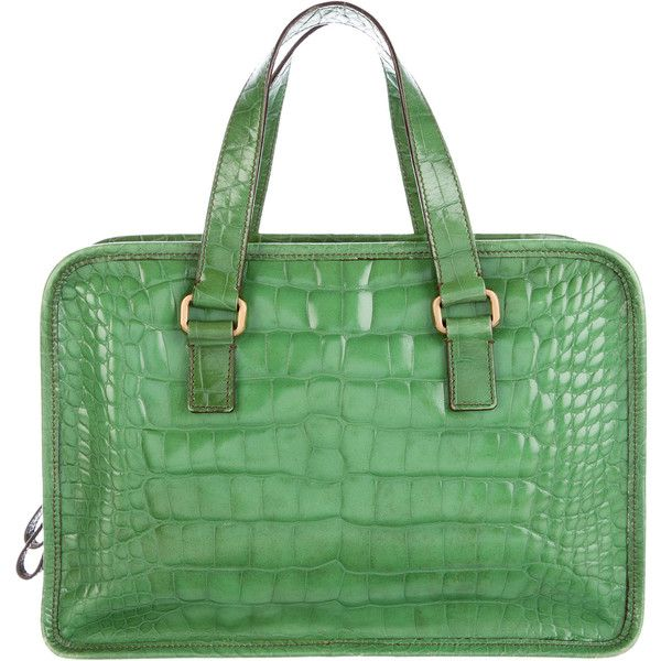 01cd2c28f918c5 Pre-owned Prada Alligator Handle Bag (€1.225) ❤ liked on Polyvore featuring  bags, handbags, green, zipper handbag, zip bag, top handle bags, green purse  ...