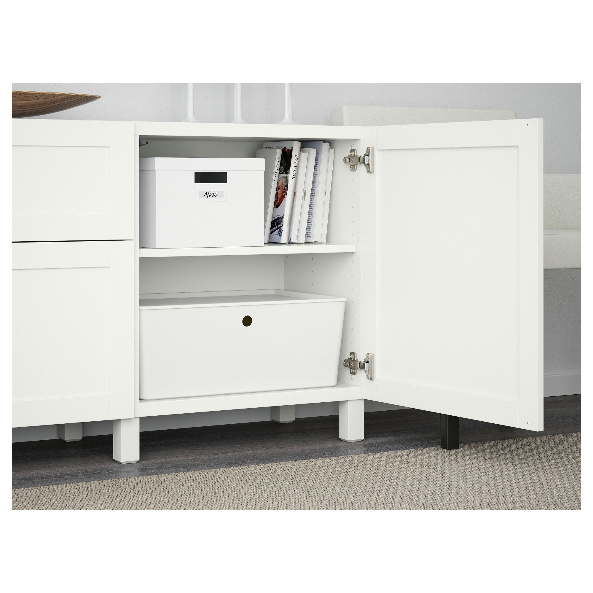 IKEA BESTA Hanviken White Storage combination with drawers