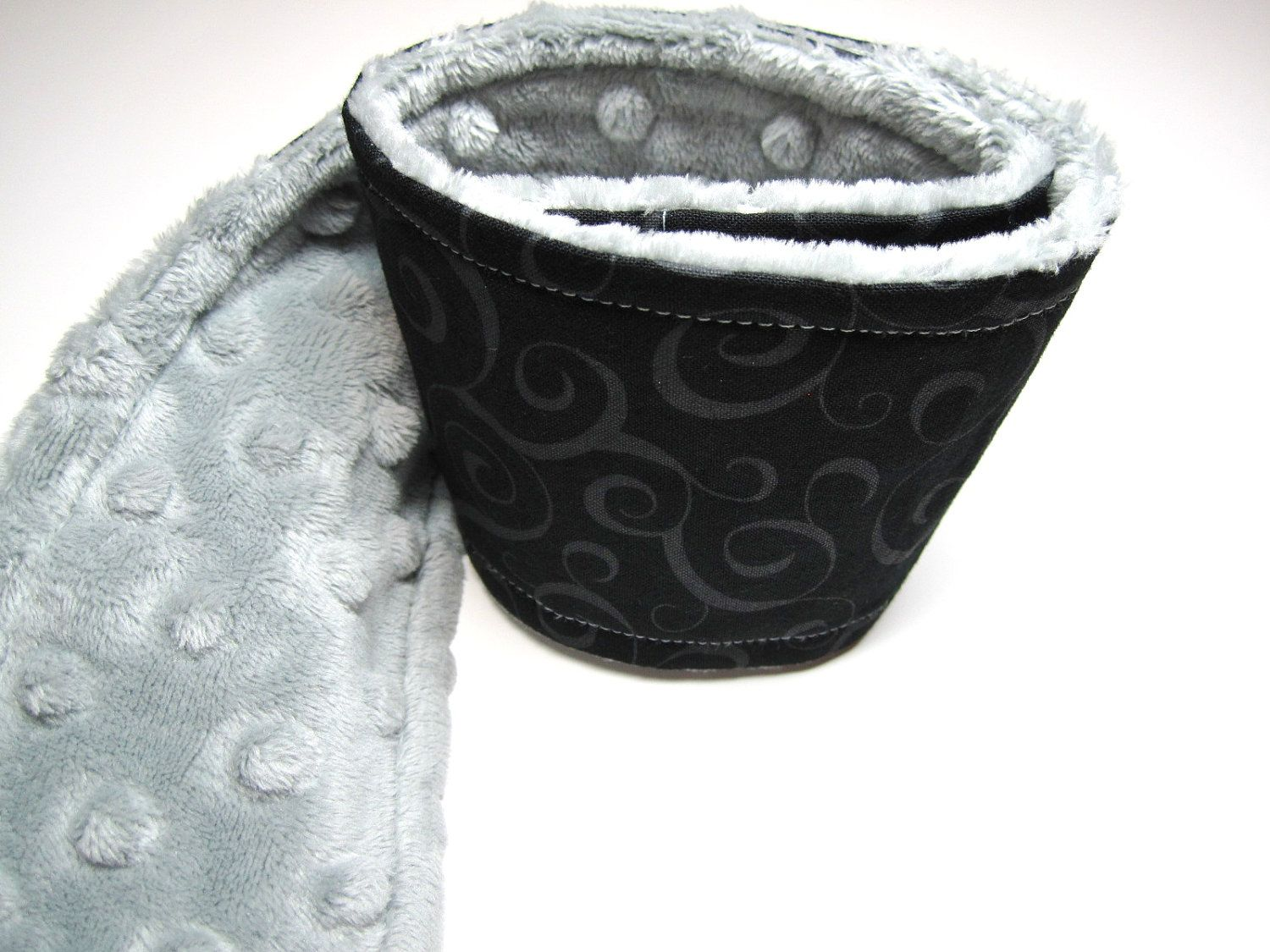 Camera Strap Cover in Black Scroll with Light Minky from Pickleberrylane