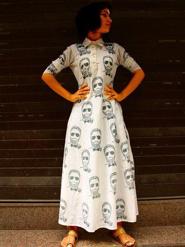 Ivory Block Printed Cotton Shirt Dress