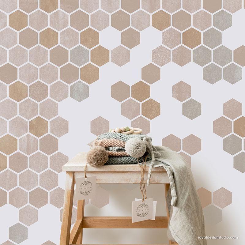 Honeycomb Hexagon Tiles Wall Stencil In 2021 Stencils Wall Accent Wall Stencil Wall Paint Patterns