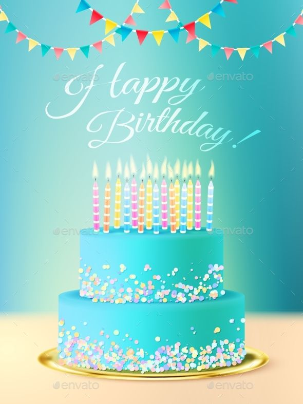 Great Happy Birthday Postcard With Layered Roundcake With Blue Icing Candles And  Festive Background Realistic Vector Illustration. Edita