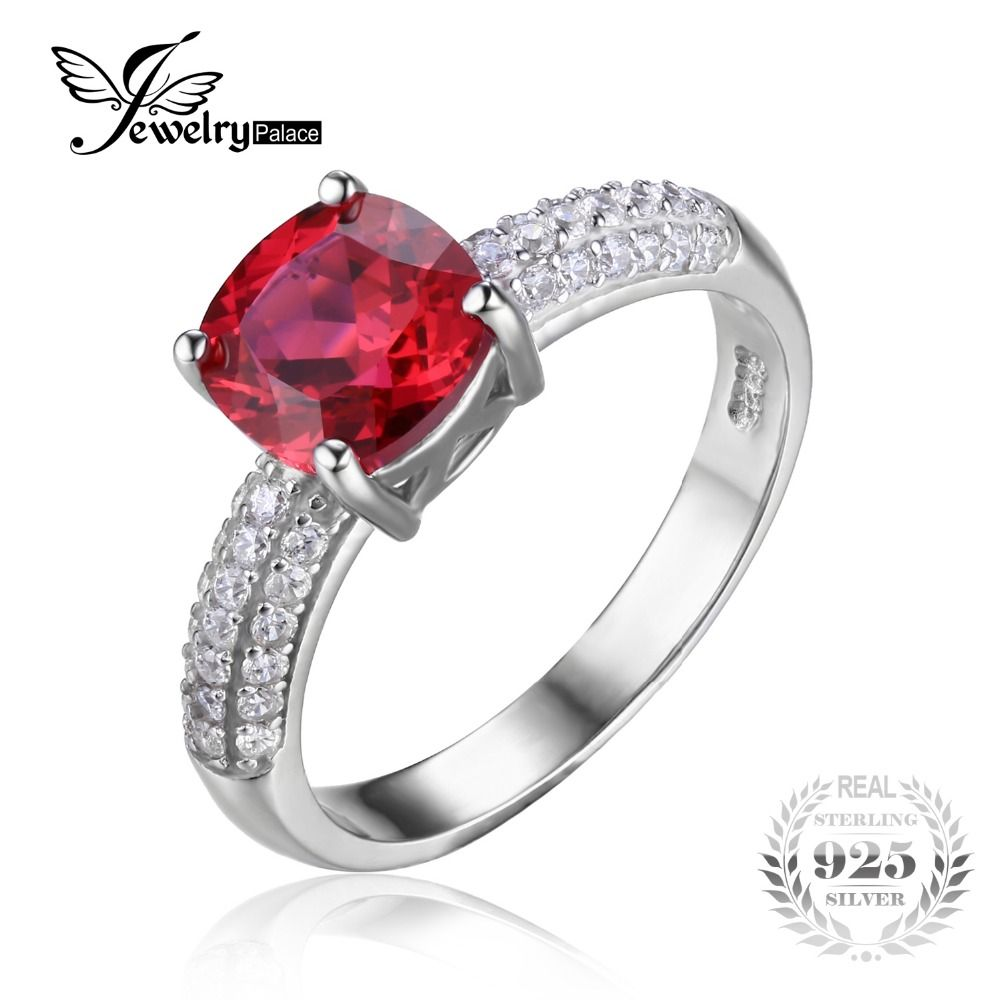 Jewelrypalace Bantal 2 6ct Red Dibuat Ruby Solitaire Engagement Ring