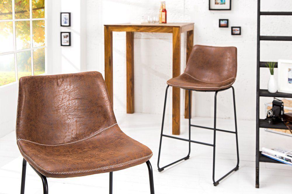 Design Barstuhl DJANGO vintage braun mit Eisengestell Barhocker - küche mit bar