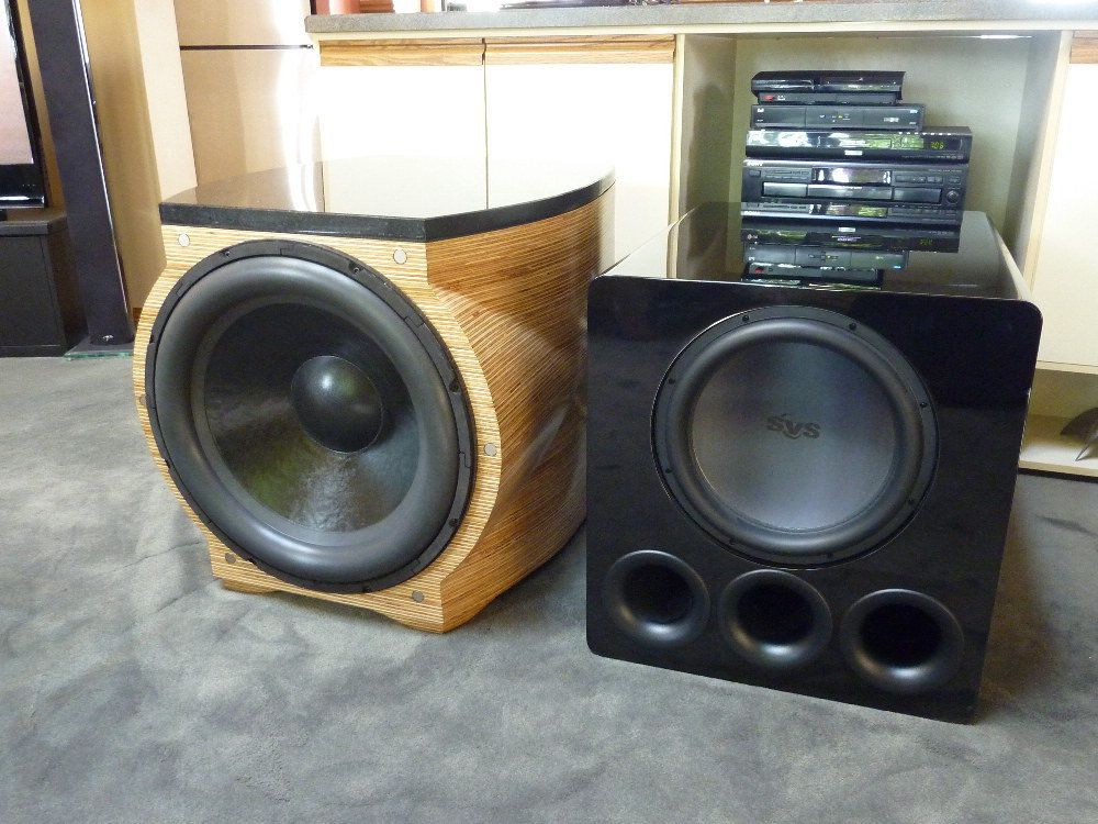 "Exodus Audio Maelstrom 21"" Driver in custom sealed box & SVS PB13-Ultra - subwoofers"