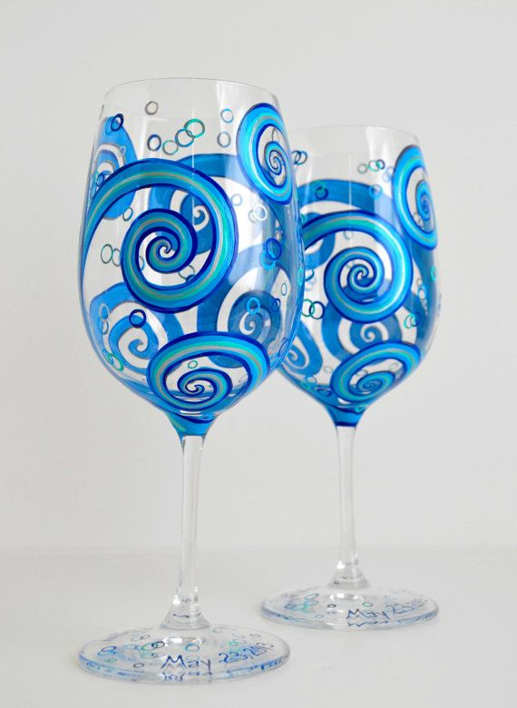 Painted Wine Gles With Ocean Waves Toasting For Your Wedding By The Sea Hand Maryelizabetharts