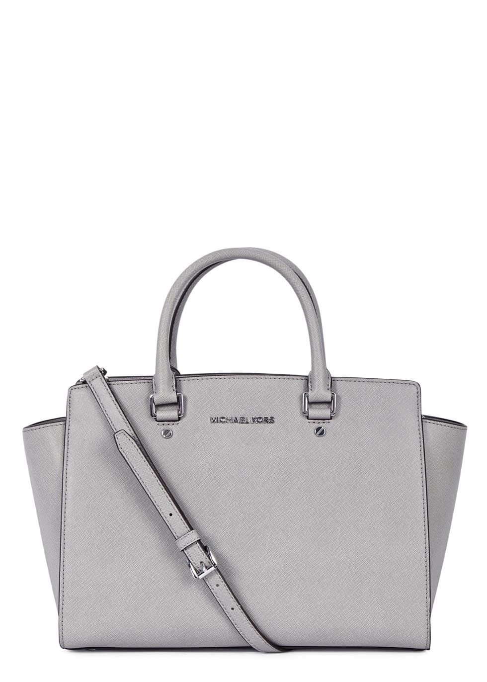 19dd3e6c8503 Michael Kors light grey saffiano leather tote Two top handles, detachable  adjustable shoulder strap, designer plaque, silver hardware, internal  zipped ...