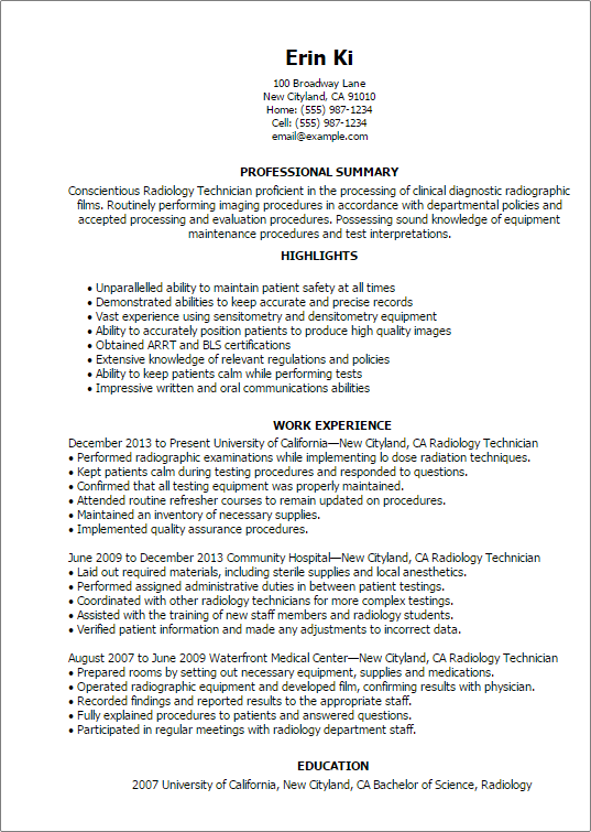 X Ray Technician Resume Format Format Resume Resumeformat Technician Radiology Technician Radiology Technologist Resume Examples