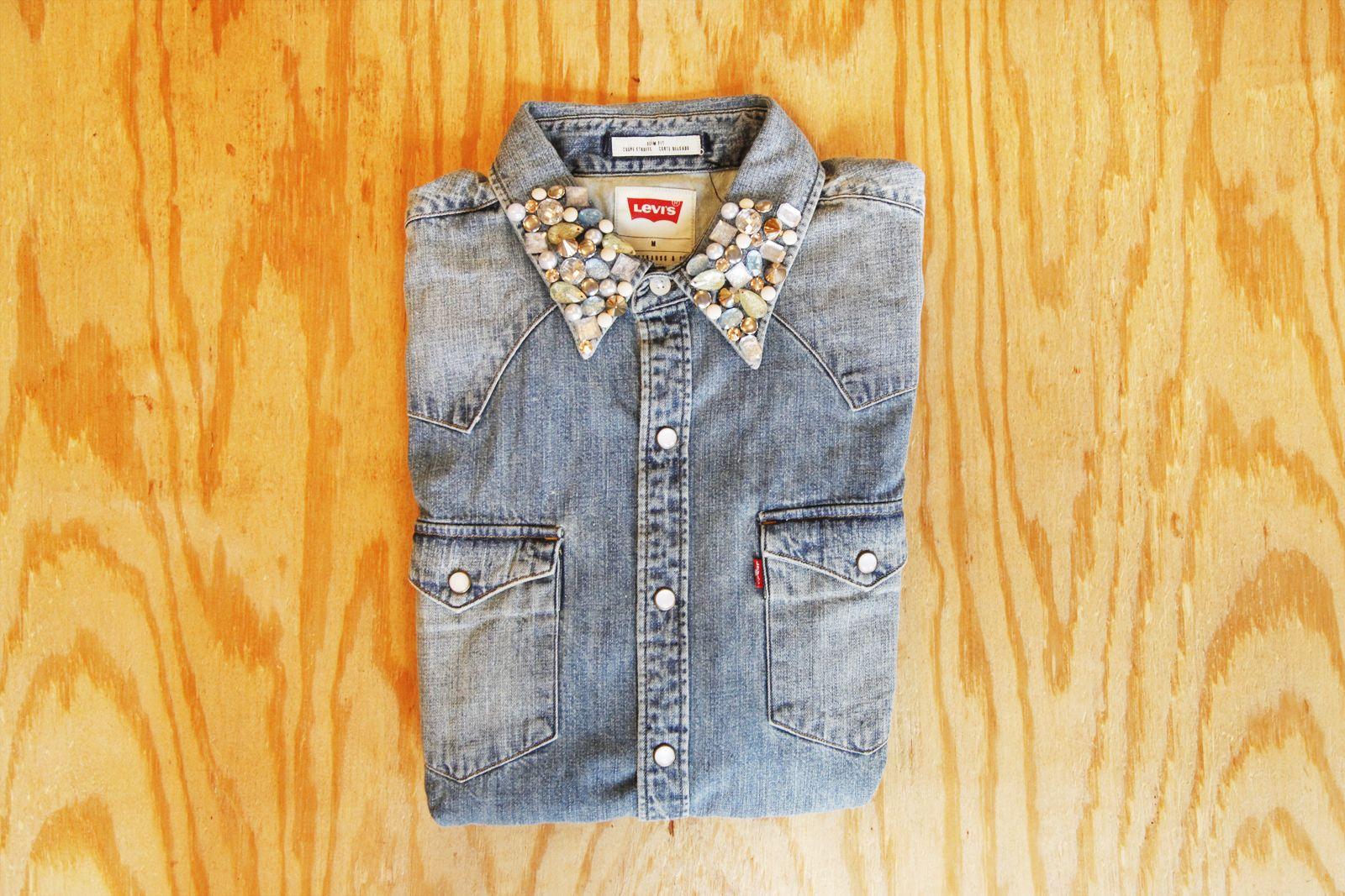 Diy your shirt collar with studs and jewels denim diy