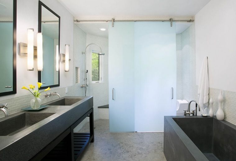 Frosted Glass Sliding Interior Doors In The Bathroom Home Doors