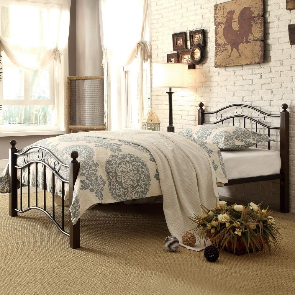Metal Platform Bed Frame Full Size with Headboard