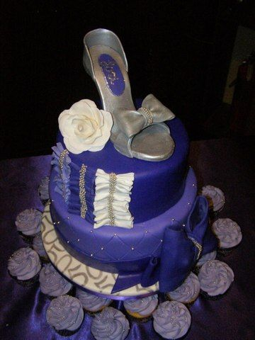 """High Heel Shoe"" Cake for a 50th Birthday Party!  Everything made by hand and by scratch by CakeHappyNW.com."