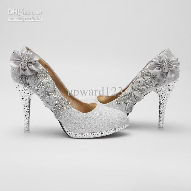Glitter Silver 10cm Bridal High Heels Shoes Wedding Bridesmaid Party Shoe Size 34 39 Rersfw3